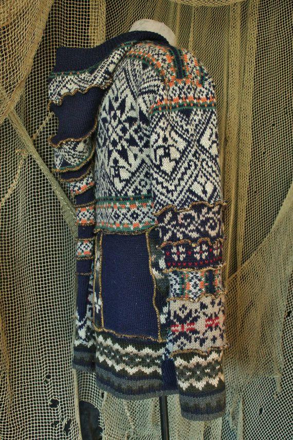 varm nordic artic mens jacket elf folk gypsy hippie bohemian coat in blue gray upcycled norwegian knittet wool sweaters XL