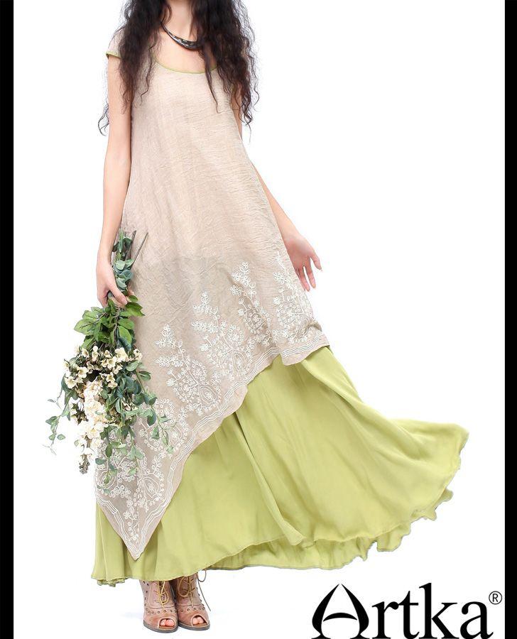 Artka женщин лето восточный эйри совок шею свободная талия би тур макси подол платье с вышивкой LA10331C, принадлежащий категории Платья и относящийся к Одежда и аксессуары для женщин на сайте AliExpress.com | Alibaba Group