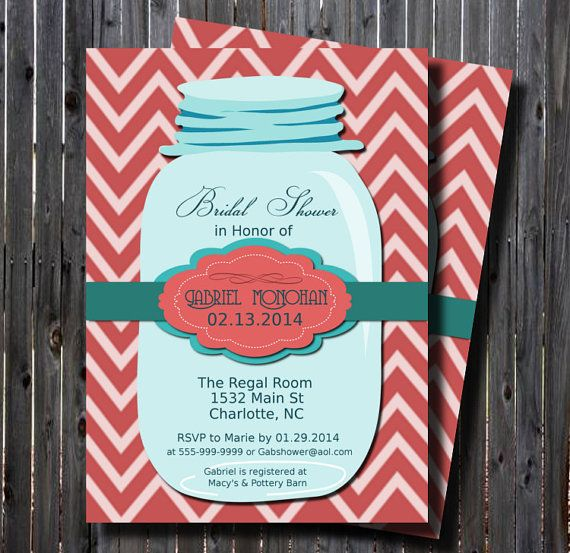 Printable Mason Jar Teal Bridal Shower Invitation-Chevron Pink-Teal-DIY-Rustic- Country-Wedding-Shower-Rehearsal Dinner