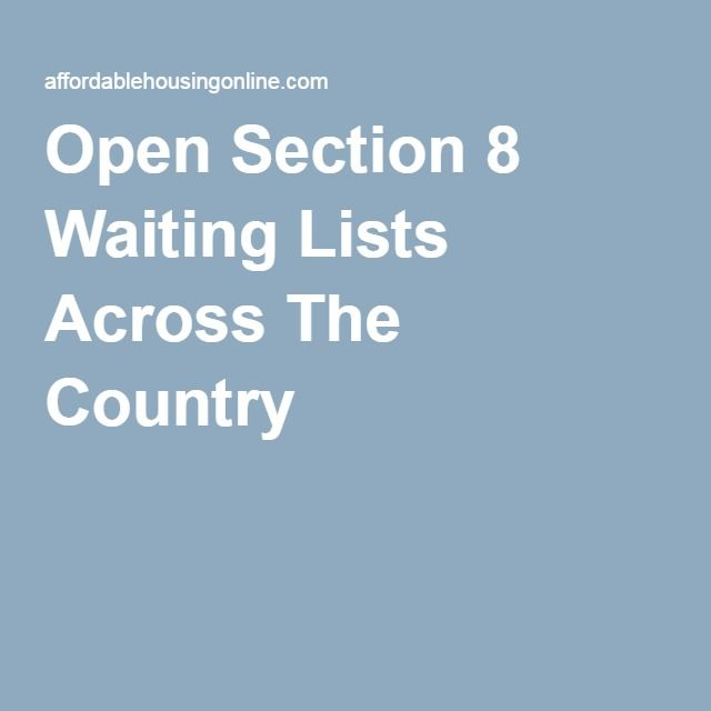 Open Section 8 Waiting Lists Across The Country