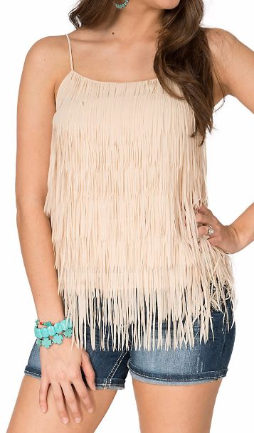 Double Zero Women's Cream Fringed Camisole