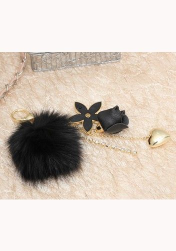 Plush Ball Rose Heart Bag Charm Key Ring Black