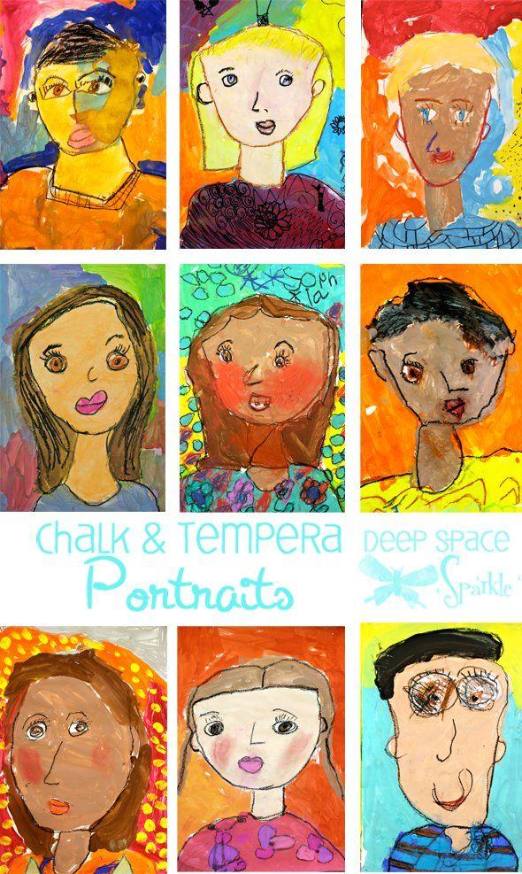 K / 1st / 2nd: tempera and chalk self-portraits