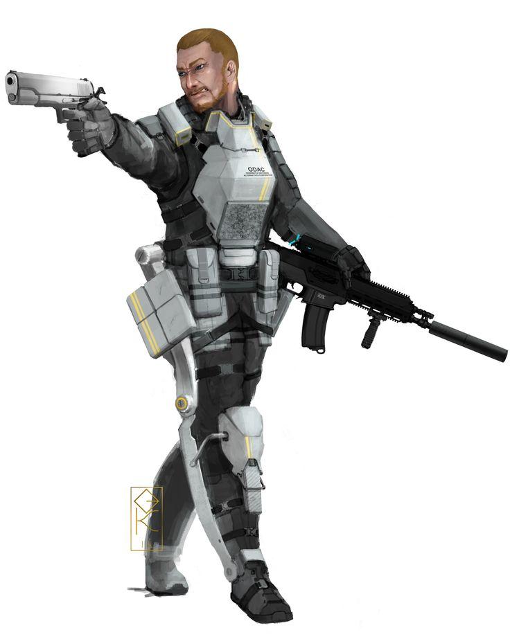 ArtStation - Mercenary in Exoskeleton, Gun Kim