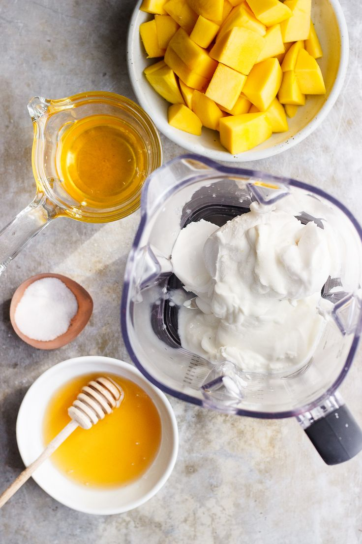 Coconut Mango Milkshakes with Chamomile Tea + Honey | Coconut mango milkshakes made from coconut cream and naturally vegan. Infused with chamomile tea and drizzled liberally with honey.