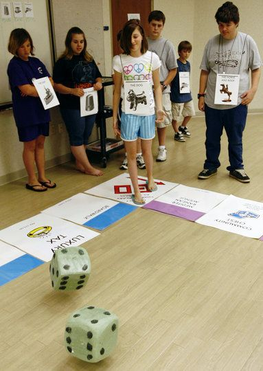 Life Size Game Boards; laminate some maths problems and leave some blank ... and giant dice too! LH