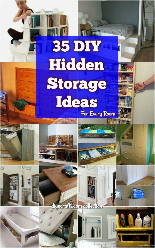 35 Space Saving Diy Hidden Storage Ideas For Every Room Diy Hidden Storage Ideas Bedroom Organization Storage Diy Bedroom Storage