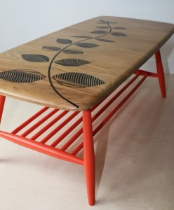upcycled 1960's vintage elm top Ercol coffee table