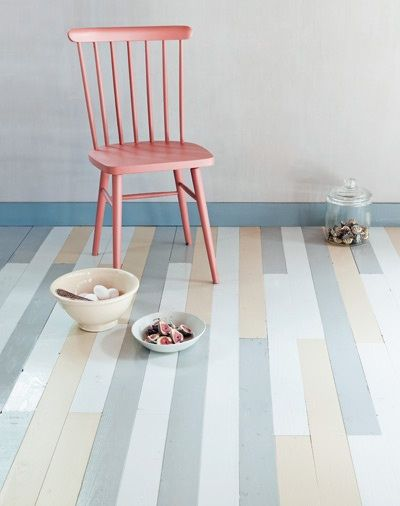 Love #pastels? Paint wooden floor boards for a pretty effect.