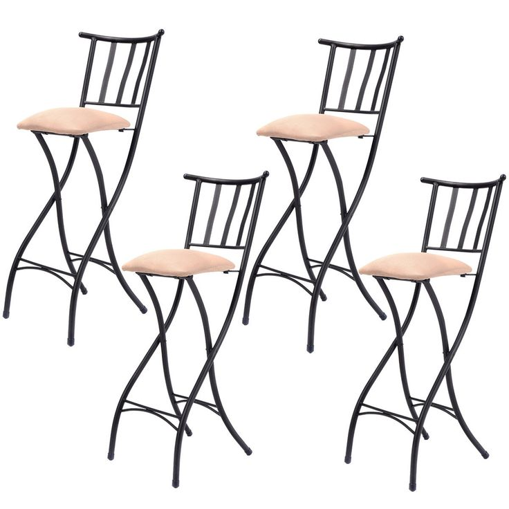 "Set of 4 Folding Bar Stools 28"" Counter Height Bistro Dining Kitchen Pub Chair"