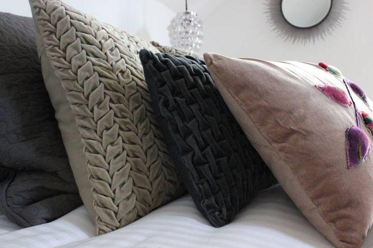 Dove And Slate Pleated Velvet Cushions