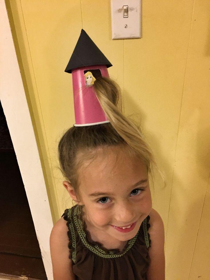 Crazy Hair Day Rapunzel In Her Tower Most Of Her Hair Is In A Bun Under The C Verruckte Frisuren Seltsame Frisuren Schlechter Tag