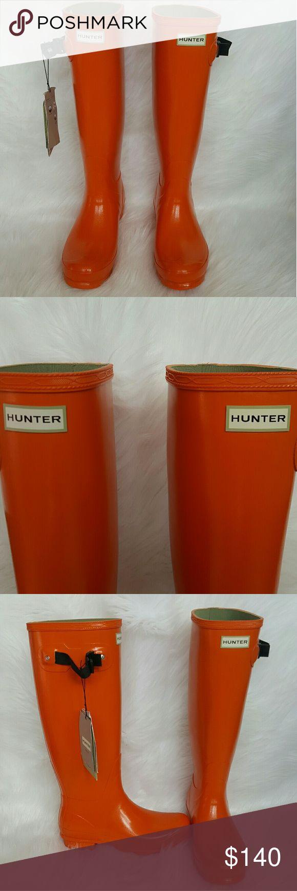 NWT Hunter Norris Field Gloss Rain Boots Size 9 Hunter  Ladies Norris Field Gloss Wellies  Orange Lichen Rain Boots  Size US 9 Hunter Shoes Winter & Rain Boots