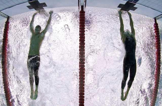 Michael Phelps 100 Fly finish, 2008 Beijing