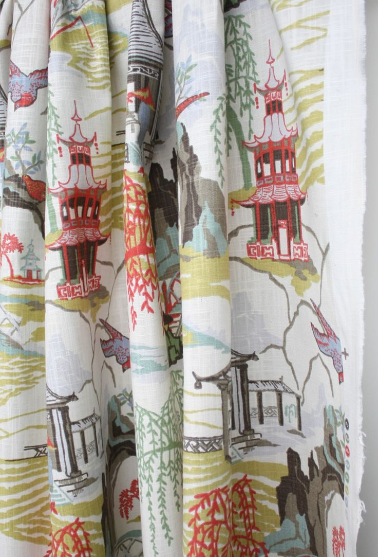 Neo Toile, Coral Fabric by Robert Allen