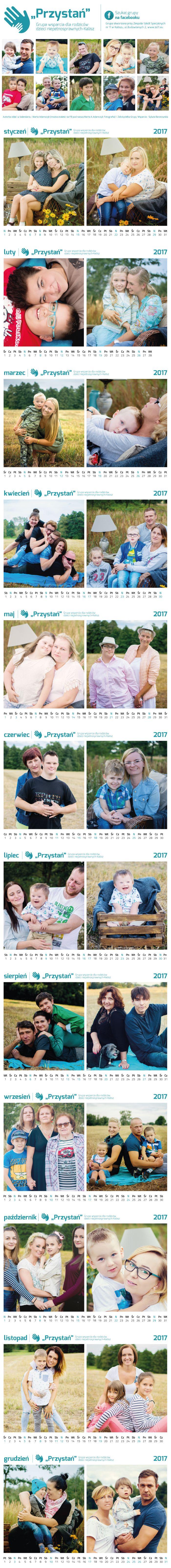 Projekt kalendarza dla Grupy wsparcia dla rodziców dzieci niepełnosprawnych-Kalisz