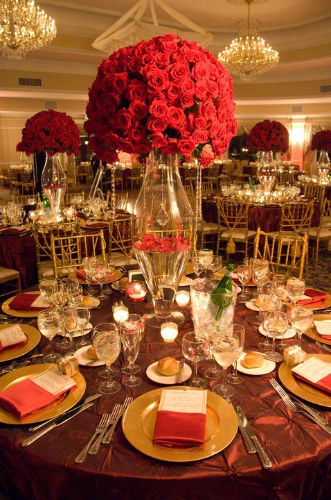 Topiary style centerpieces created with all red roses
