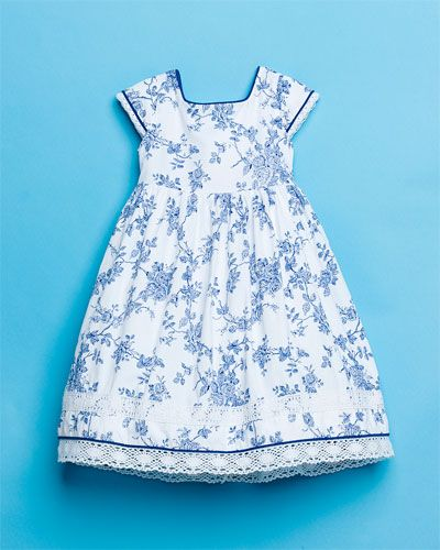 This little dress reminds me of your grandma's china...from Laura Ashley Girls' Navy & White Floral Dress #amyesperstyling