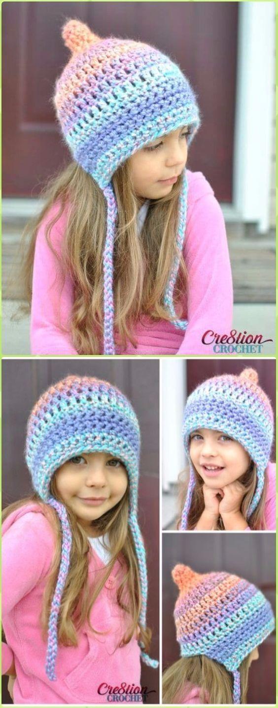 Crochet Unique Pixie Bonnet Style Hat Free Pattern - Crochet Ear Flap Hat Free Patterns