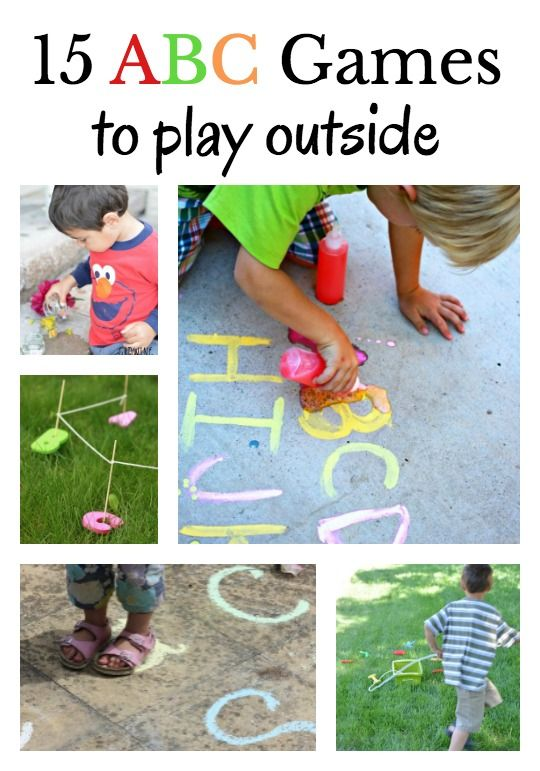 ABC games that are great for the outdoors. Chalk games, water play ideas, movement activities and sand and dirt play ideas to work on letter recognition!