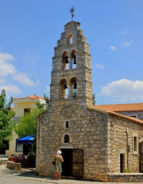 Stone church in Areopolis, Mani region in Peloponnese