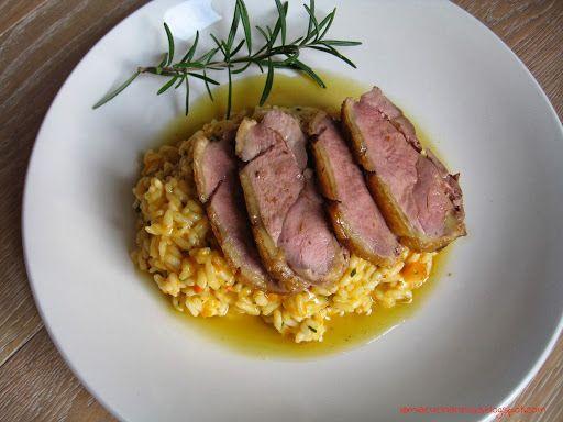 Petto d'anatra arrosto con risotto alla zucca - http://www.ricercadiricette.it/r/petto-d-anatra-arrosto-con-risotto-alla-zucca-11293821.html