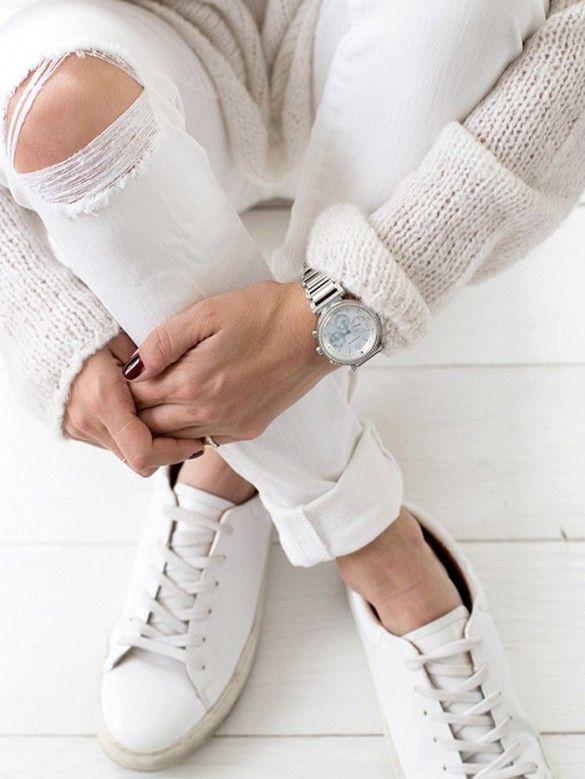 The basics: white knits + ripped skinnies + sleek watch + white sneakers