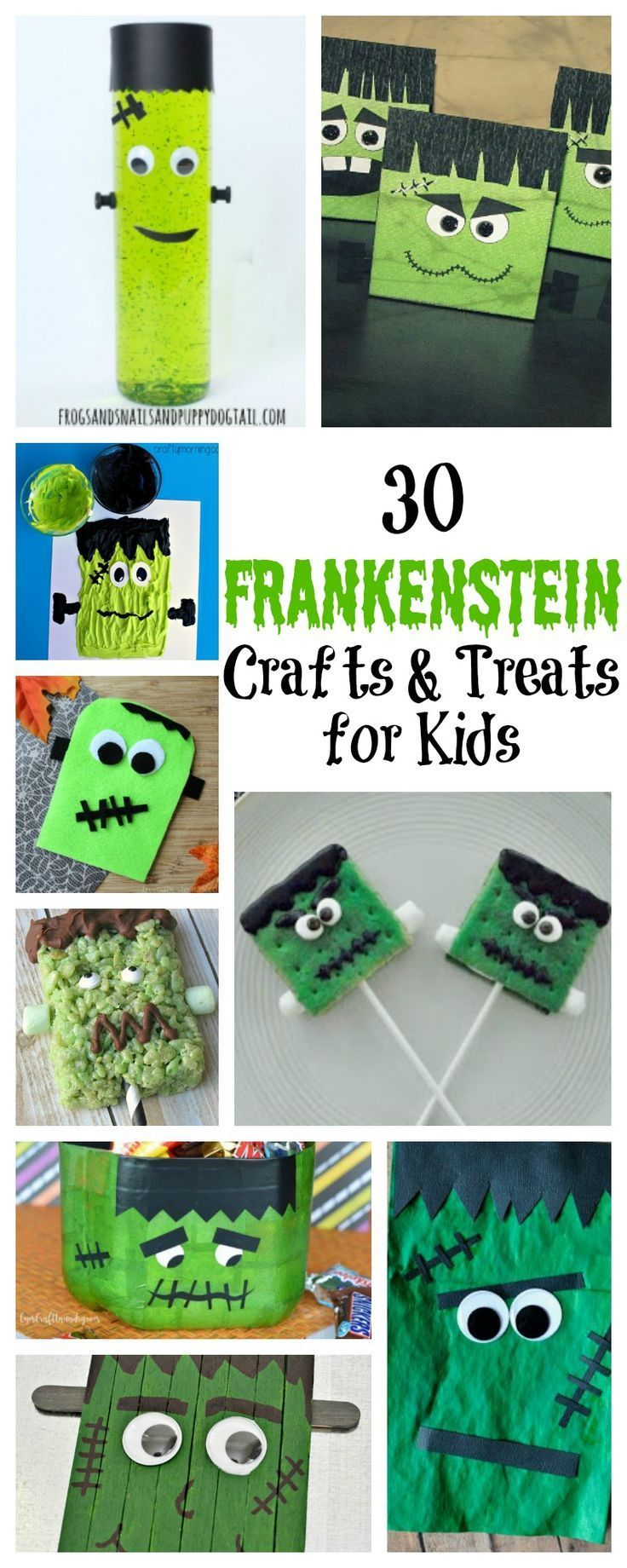 Halloween wouldn't be complete without our favorite monster, Frankenstein. I've put together a collection of Frankenstein crafts and treats for kids that will help inspire you to create your own!