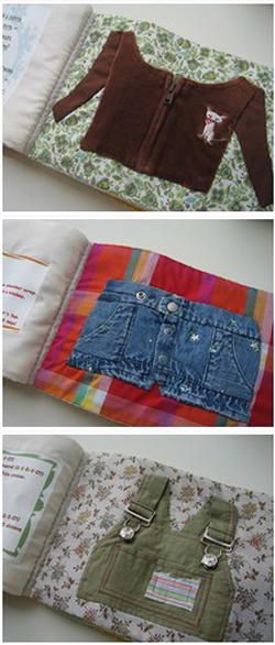 Real clothes to teach dressing skills in a quiet book.