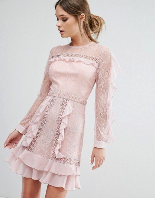 True Decadence Ruffle Sleeve Mini Dress With Sheer Panels in pink at Asos