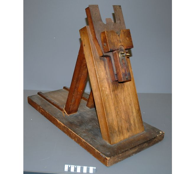 """CAT DECEREBRATION DEVICE : Circa 1900-1930. """"Used to position and support cat body during preparation and conduct of medical experiments consisting of the elimination of cerebral brain function in an animal by removing the cerebrum, cutting across the brain stem, or severing certain arteries in the brain stem. Frederick Miller, for whom this device was made, conducted research into reflexes. He worked on mostly cats, but also dogs, guinea pigs, and other small animals."""" (Source: Picture…"""