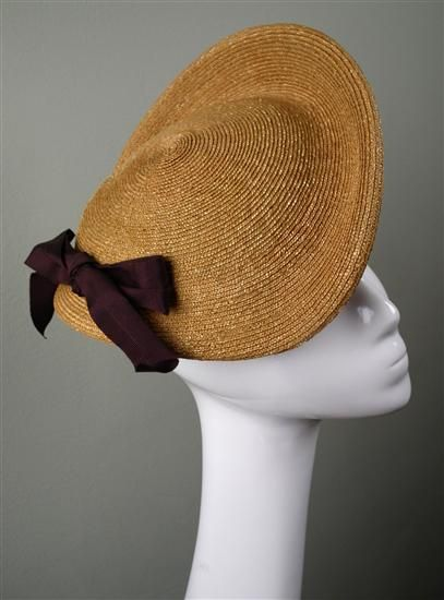 1950's straw hat with bow | Prudence Millinery