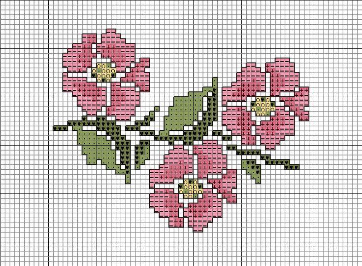 Free Cross Stitch Charts Pinterest | Cross Stitch Patterns > Floral > Wild Rose