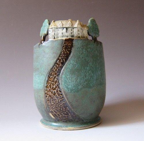 Home Sweet Home kleine Kunsthandwerk Stil Vase / von MaidOfClay