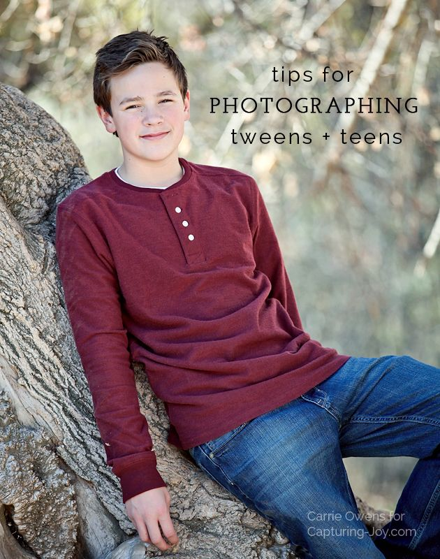 Tips for photographing teens and tweens by Salt Lake City Utah photographer Carrie Owens on Capturing-Joy.com