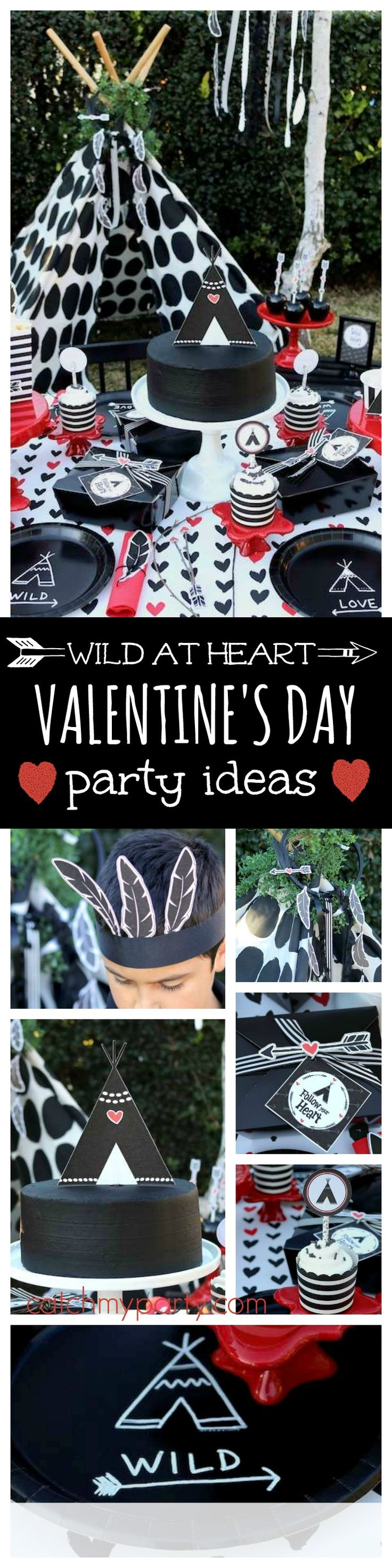 Check out this fantastic boho Wild at Heart Valentine's Day party. The black cake and tent topper are awesome!! See more party ideas and share yours at CatchMyParty.com