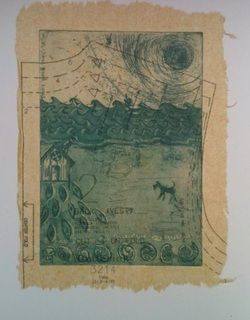 Stitch in Time  Etching with chine colle