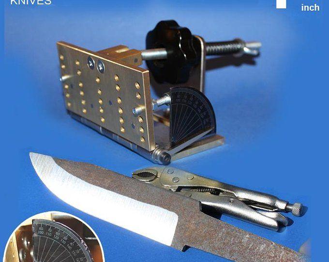 Adjustable knife bevel grinding jig for belt grinder, knife