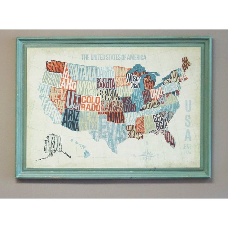 Usa Word Map Framed Graphic Art