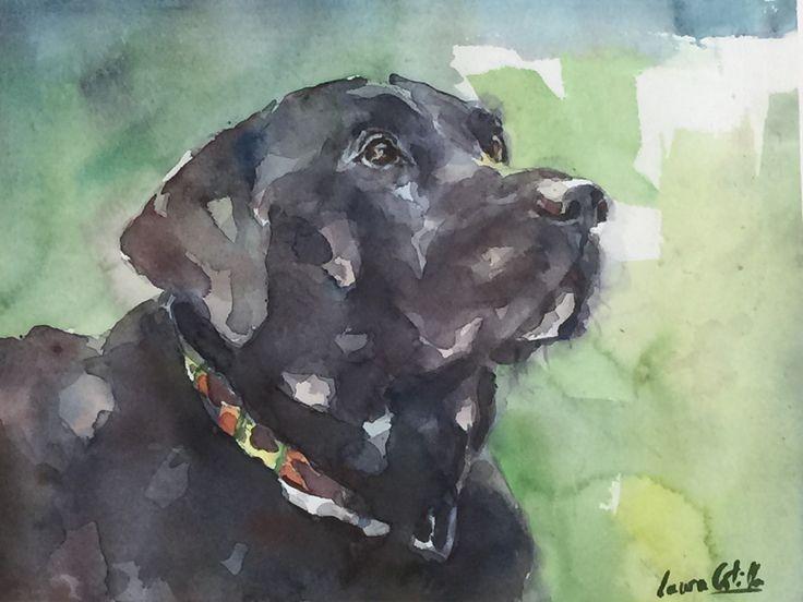 Retrato en acuarela de un Labrador