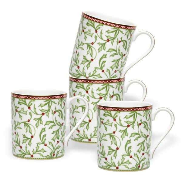 Holiday Traditions Mugs, Set of 4 ($35) ❤ liked on Polyvore featuring home, kitchen & dining, drinkware, holiday mugs and porcelain mugs
