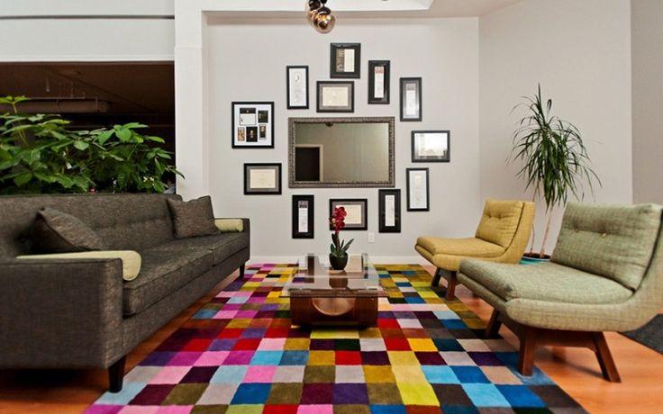 OMG this rug!!!!!: Interior Design, Mirror Idea, Lux Studios, Decor Interiordesign, Mirror Wall, Contemporary Design, Colorful Rugs