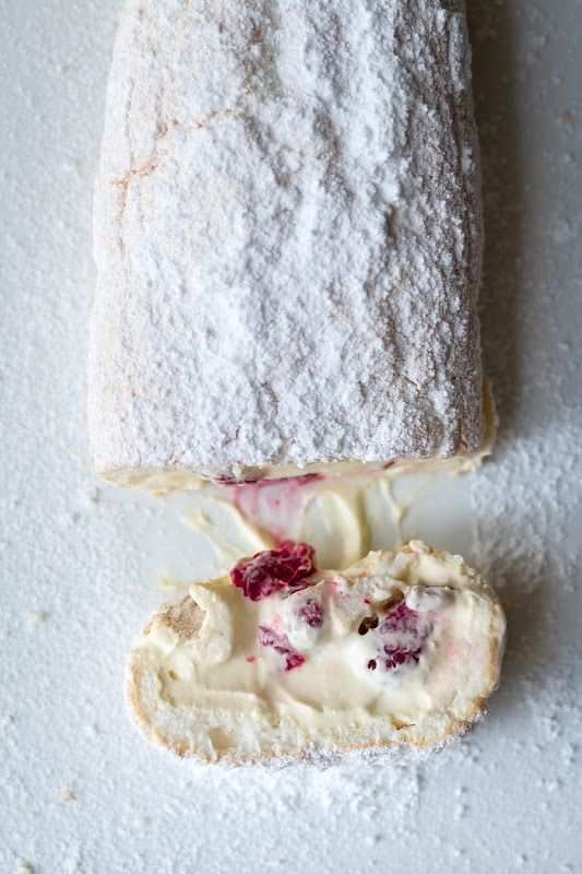 ... Marshmallow Pavlova Roulade with Lemon Curd Mascarpone and Raspberries