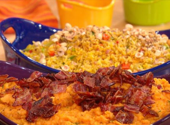 81 best tasty thanksgiving sides images on pinterest get rachael rays cheddar cheese sweet potatoes topped with maple bacon recipe ccuart Choice Image