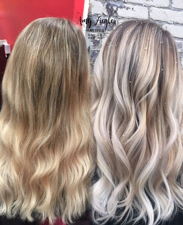 Before & After Transformation Snow white blonde platinum balayage ombre by @amy_ziegler #askforamy #versatilestrands