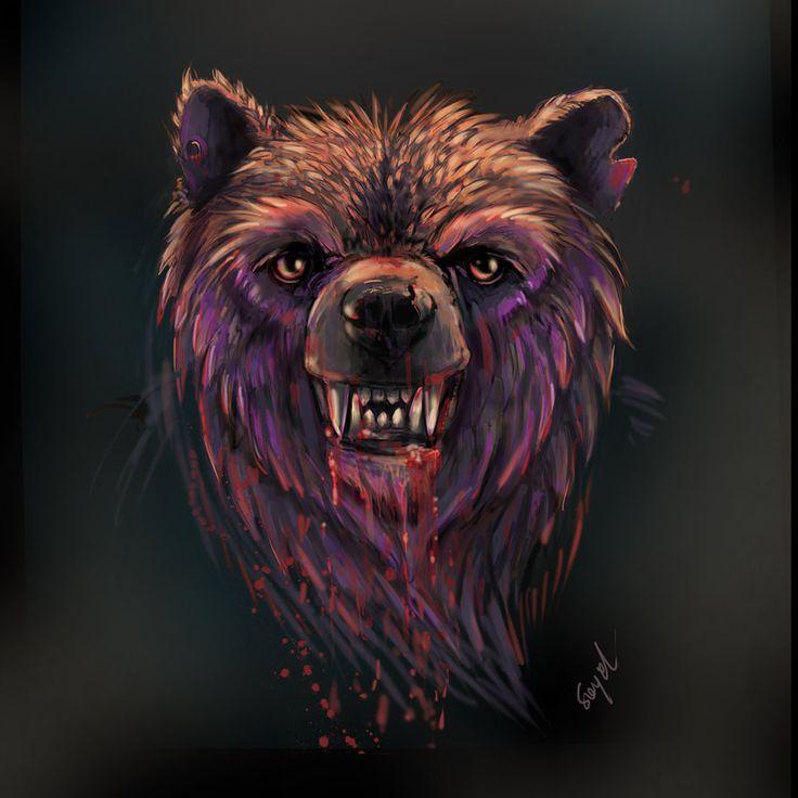Bear rage. Digital art.