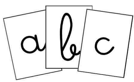 Lettres de l'alphabet à afficher ou à plastifier pour fabriquer des cartes à jouer. 21 modèles écrits dans différentes polices d'écriture.