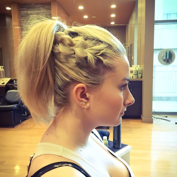 Sexy Saturday night updo, side braid ponytail