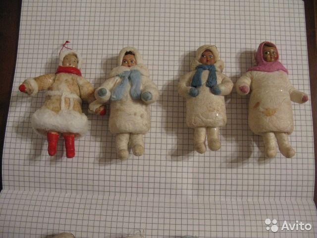 Елочные игрушки СССР Девчонки 1 ватные