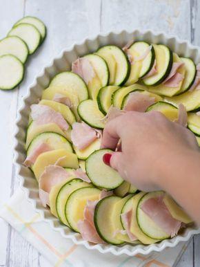 teglia patate zucchine e prosciutto al forno parmigiano